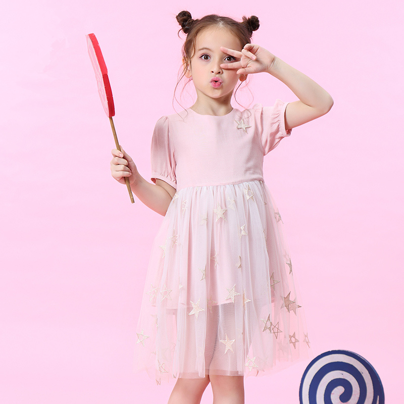WL.MONSOON 2018 summer Short sleeves for girls dress Pentagram Tutu Children's dress Pleated dress Princess dress plaid pleated cami dress