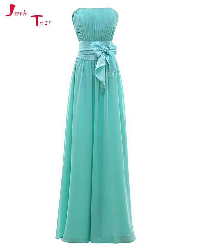 Jark Tozr Real Picture Burgundy Turquoise Pleated Chiffon   Bridesmaid     Dresses   2019 Vestido Madrinha Casamento Longo Bow Waist