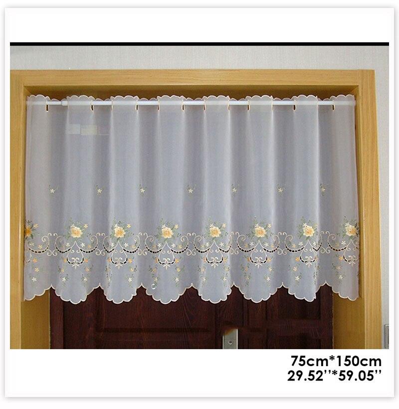 Estilo pastoral amarelo floral bordado rendas meia-cortina
