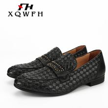 XQWFH Brand Men Shoes Handmade Breathable Mens Casual Dress