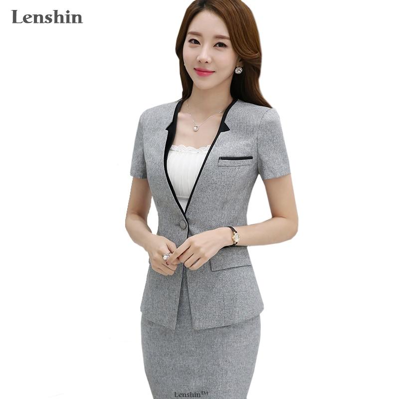 Lenshin 2 Pieces Set Contrast Collar New Summer Work Wear Women's Skirt Suits Female Formal Short-Sleeve Blazer Jacket & Skirt