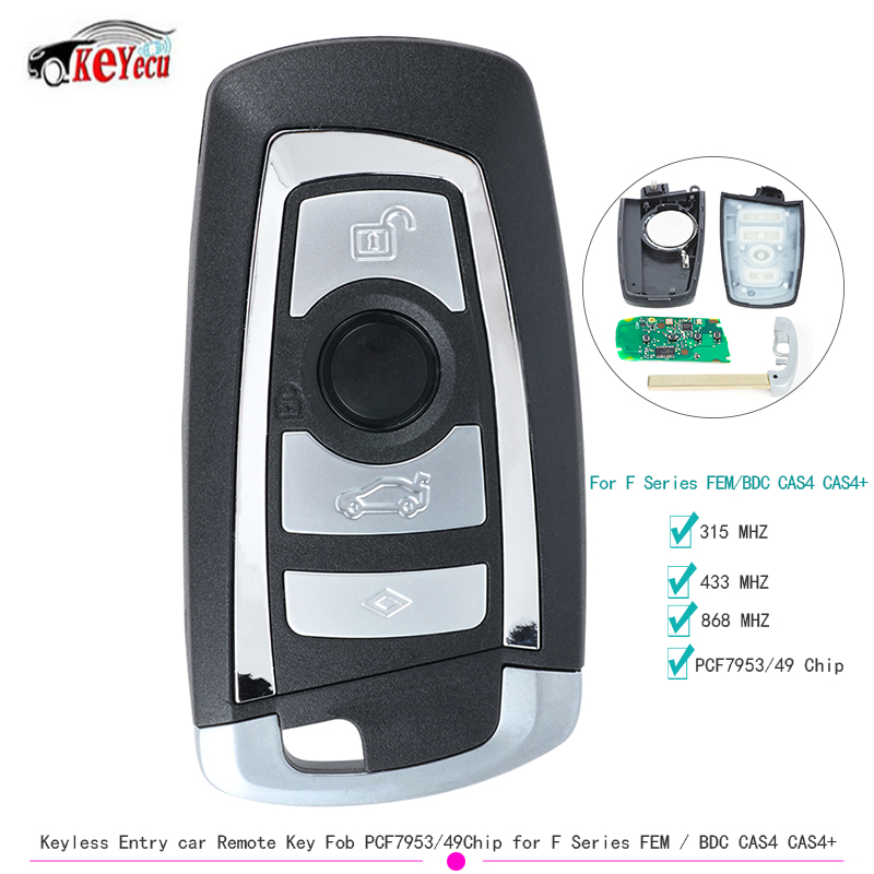 Keyecu 2017 4 Button Keyless Entry Auto Afstandsbediening Sleutelhanger 315 Mhz/433 Mhz/868 Mhz PCF7953/ 49 Chip Voor Bmw F Serie Fem/Bdc CAS4 CAS4 +-in Auto Sleutel van Auto´s & Motoren op