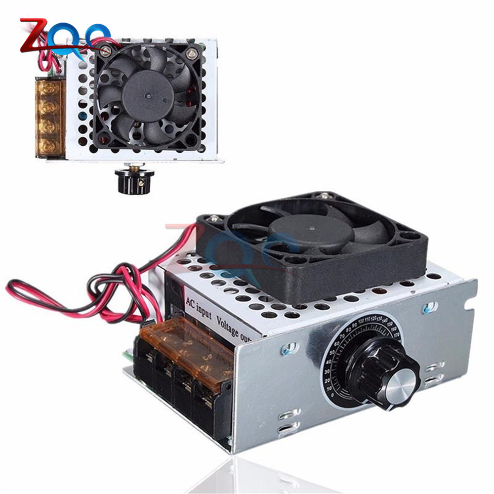 AC 220V 4000W Electric Regulator Motor Speed Controller SCR Temperature Voltage Regulator With Fan Big Power Brightness DimmerAC 220V 4000W Electric Regulator Motor Speed Controller SCR Temperature Voltage Regulator With Fan Big Power Brightness Dimmer