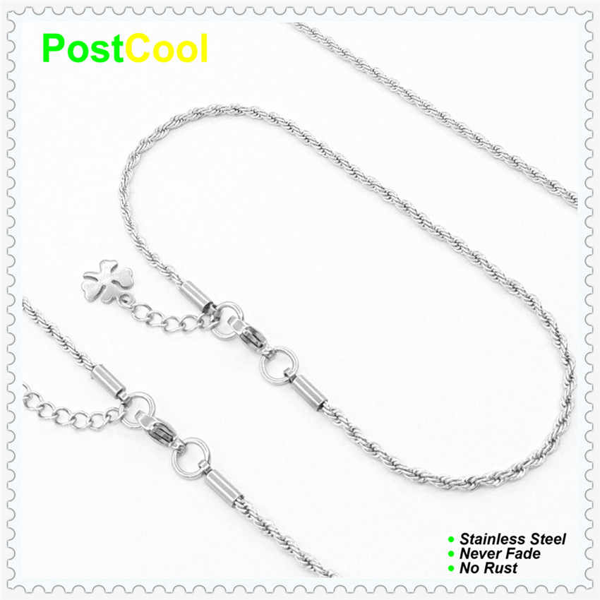 Chain Width 2MM Rope Style Jewelry Sets High Quality 100% Stainless Steel Necklace 40/50/60/70/80/90cm/Bracelet 18/20/22cm15 DIY