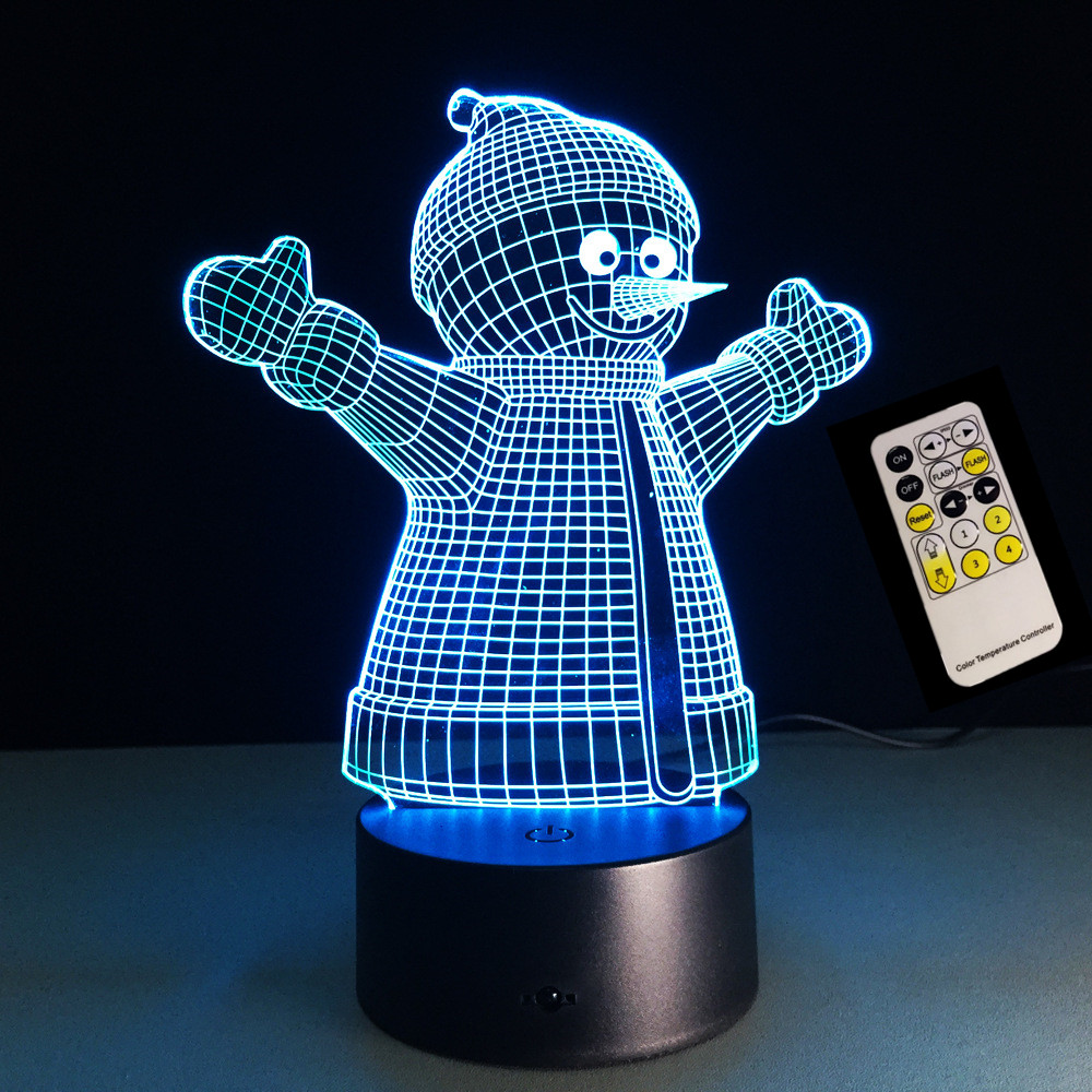7 Colors Snowman 3D USB LED Remote/Touch Switch Night light Home Decoration Colorful Atmosphere Bedroom lamp as Christmas Gift