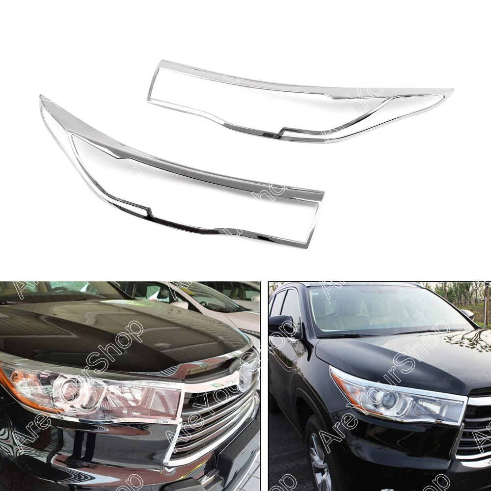Areyourshop Sale 2pcs ABS Chrome Front Headlight Lamp Cover Frame Trim For Toyota Highlander 2015 high quality for toyota highlander 2015 2016 car cover bumper engine abs chrome trims front grid grill grille frame edge 1pcs