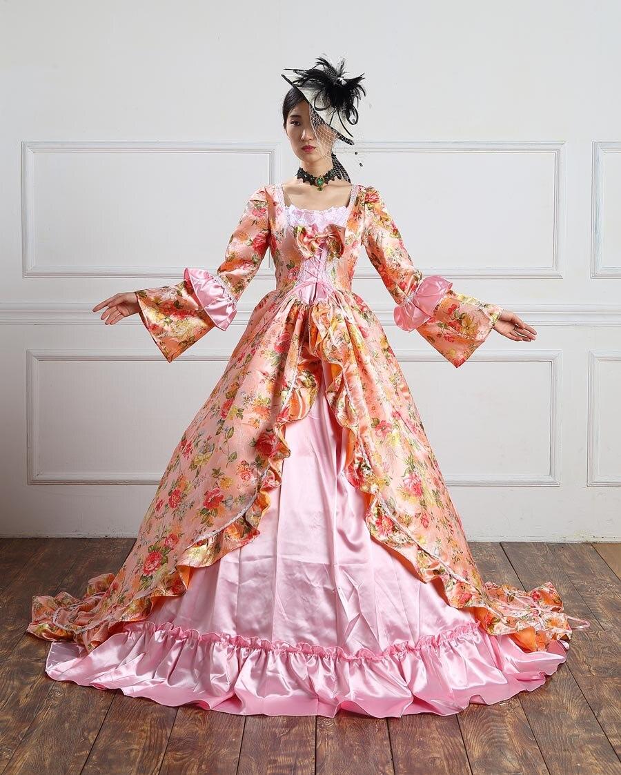 Alta calidad Holiday Marie Antoinette vestido período tren largo ...