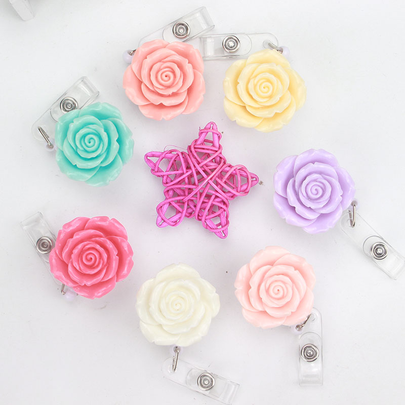 New Resin Rose Flower Nurse Retractable Badge Reel Pull ID Card Badge Holder Belt Clip Hospital School Office K159
