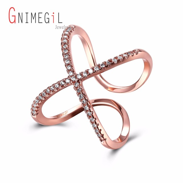 Diamond Pave Criss Cross X Ring In 18k Rose Gold