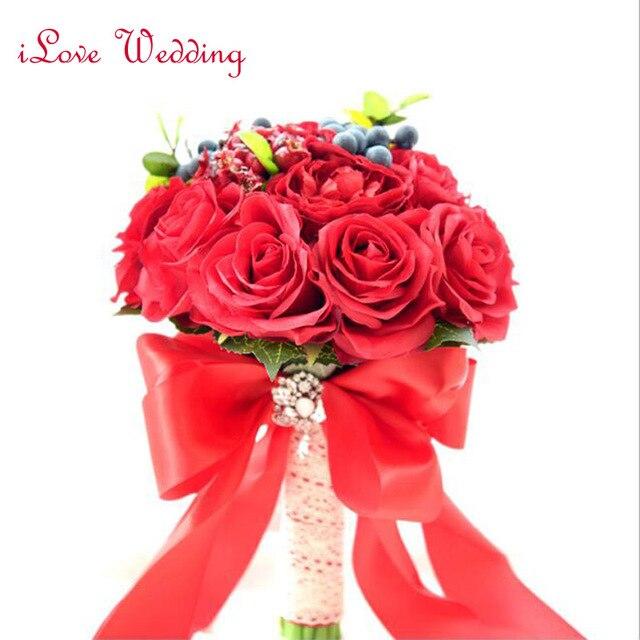 2017 Новый Дизайн Красный Свадебный Букет Ручной Роза с Кристалл Люкс Свадебные цветы Свадебные Букеты