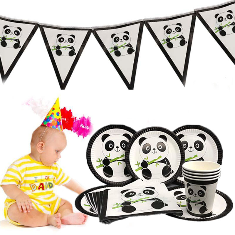 Cartoon Tableware Decor Baby Shower Tablecloth Banners Gift Bags Happy Birthday