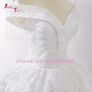Image 4 - Jark Tozr New Arrive Off The Shoulder Short Sleeve Gorgeous Princess Ball Gown Wedding Dresses Vestidos De Noiva Princesa