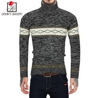 John S Bakery Brand New Fashion Autumn Casual Sweater Turtleneck Geometric Pattern Slim Fit Knitting Mens