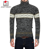 John S Bakery Brand New Fashion Autumn Casual Sweater Turtleneck Geometric Pattern Slim Fit Knitting Mens