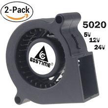 Gdstime – ventilateur à Turbine centrifuge 5020, ventilateur de refroidissement à 2 broches, 24V 12V 5V, 50mm, 2 pièces