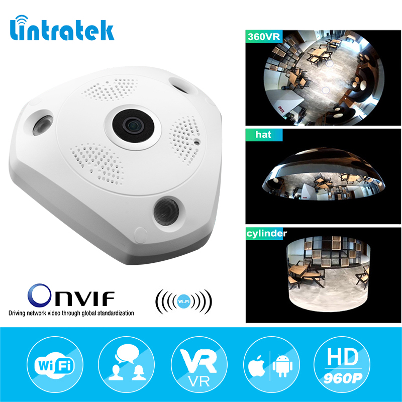 lintratek HD 960P Wifi VR Panoramic Camera 360 Degree CCTV Security Video Surveillance Home IP Camera Baby Monitor Night Vision hd 960p wifi wireless robot security ip camera 160 degree night vision motion detection audio alarm function video home monitor