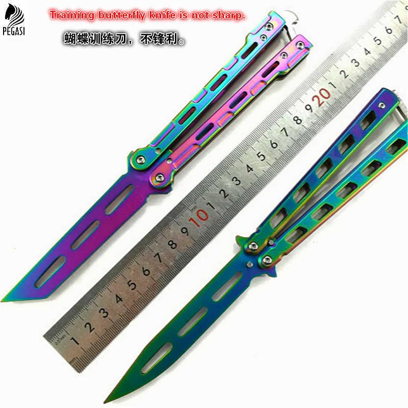 CS Лидер продаж, цвет титана, черный, серебристый, металлический тренировочный балисонг, тренировочный нож для тренировок, тусклый инструмент, нож, бабочка