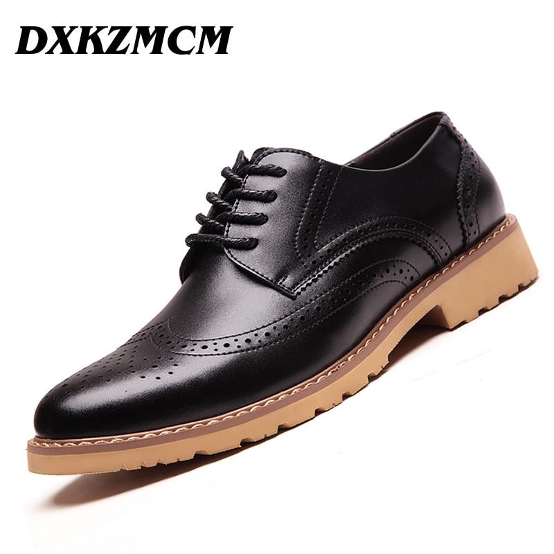 DXKZMCM Genuine Leather Bullock Men Flats Shoes Casual British Style Men Oxfords Fashion Dress Shoes For Men dxkzmcm new men flats cow genuine leather slip on casual shoes men loafers moccasins sapatos men oxfords
