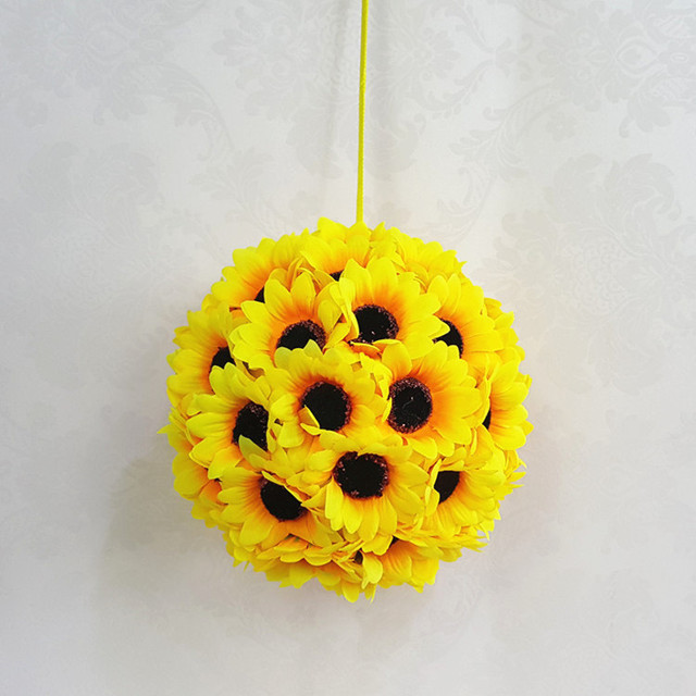 25f3a70e3 Hot sale 9cm Artificial Silk Sunflower Flower Balls Wedding Flowers  Centerpiece for Wedding Party Decoration Decorative Flowers