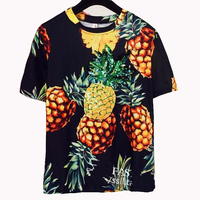 2017 Summer Women S Short Sleeve Sequin Fruit Print Pineapple Top T Shirts T Shirt T