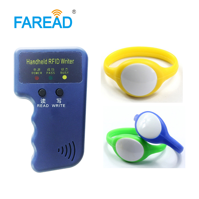 1pc RFID Keyfob Copier + X100pcs Free Shipping 125khz TK4100/EM4100 /EM4305/T5577 RFID Wristband For Wimming Pool, Cooling Store