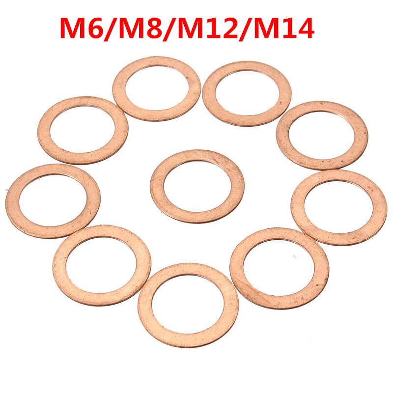 10x M6/M8/M12/M14 Gaskets Motorcycle Brake Fuel Seal Copper Crush Washer