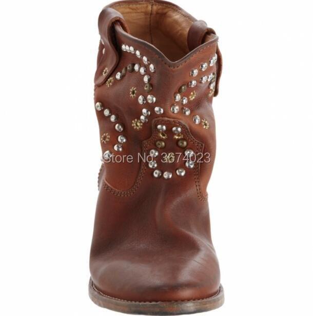 Hauteur Cheville Croissante Goujons Talons Blanc Cuir Rivets Femmes Botas Qianruiti Noir Brun Coins Bottes Martin Chaussures Cru En 0g11Cq