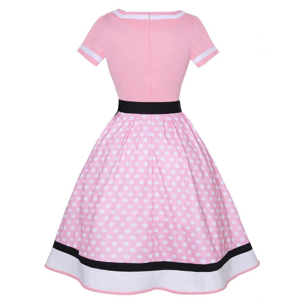 Плюс размер женское винтажное платье в горошек с v-образным вырезом и коротким рукавом с поясом Хепберн Платье милое праздничное платье 50s Vestido