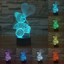 7 Color change Cartoon Cute Bear Acrylic USB LED Lamp 3D lamp touch sensor Baby Night Light Christmas Lights For kids IY803422