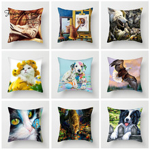 Fuwatacchi Animal Cushion Cover Cute Spotted Dog Cat Pillow For Sofa Living Room Home Car Decorative Pillowcases 45cm*45cm