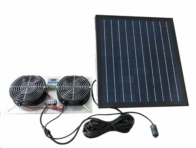 30w Stainless Steel Dc Solar Ed Crawle Ventilator Dual Fans 500cfm Vent Ventilation