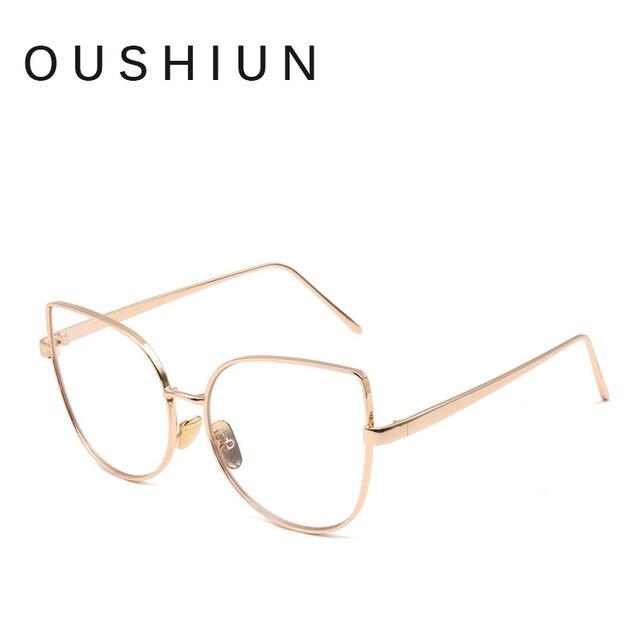 dc1a902b6eb oushiun Fashion Cat Eye Optical Eye Glasses Women Men Clear Lens Big Metal  Glasses Frame Retro Female Male Goggle Eyeglasses