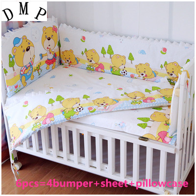 Promotion 6PCS Baby bedding sets 100 cotton baby bedclothes Cartoon crib bedding set bumpers sheet pillow