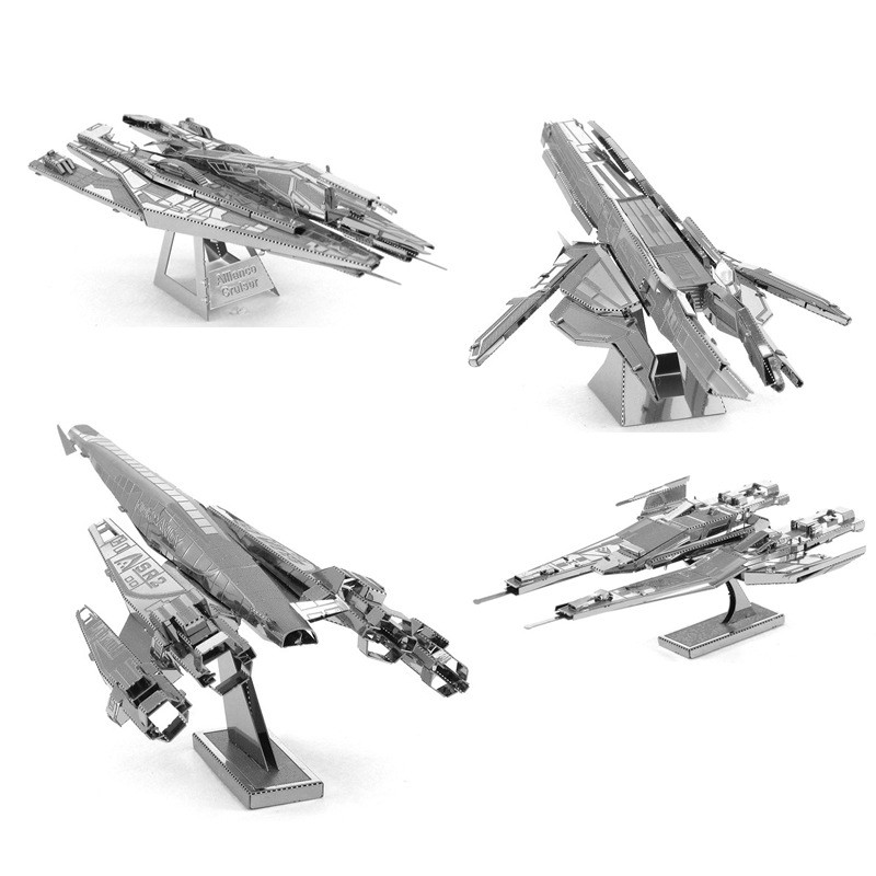 3D DIY Metal Stainless Steel Battleship Spaceship Model Jigsaw Puzzle Toys Mass Effect Normandy SR2 Puzzle Toys Fans Collection