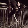 2017Wrinkles Slim plus knee zipper mens Fashion shrink sweatpants High street jogging pants teens Hip hop trend skateboard pants