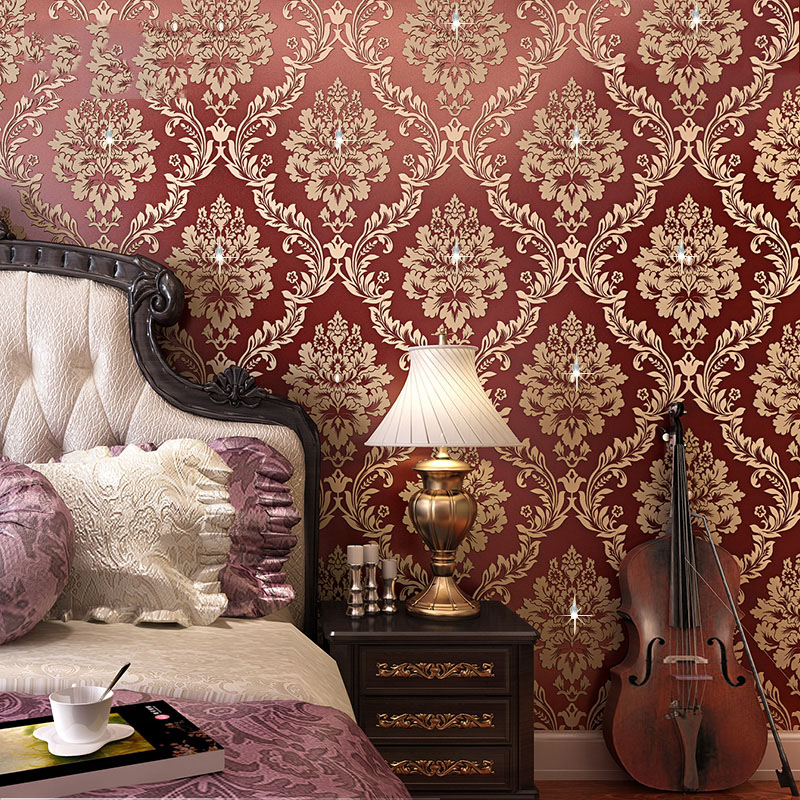 Classic European Style Diamond Damask Wallpaper Roll For Wall 3D Non-woven Wall Paper Living Room Bedroom Background Home Decor