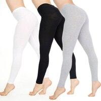 Femmes coton pleine longueur taille haute décontracté noir entraînement maigre confortable Leggings grande taille