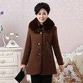 2016 Mulheres Casaco de Inverno quente mais grosso Cashmere Misturas De Lã Casaco Com Gola De Pele Single-Breasted Casacos da longo-luva 6 cores