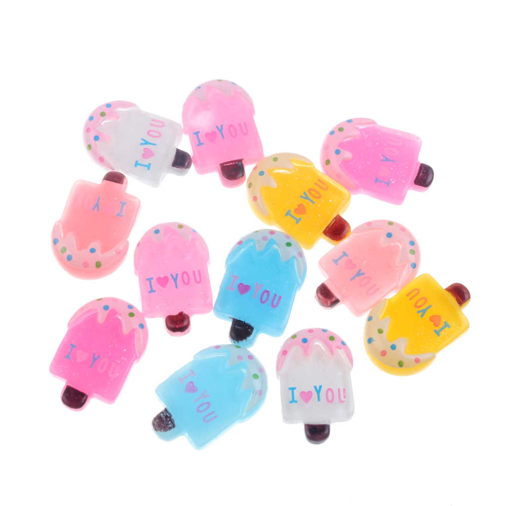 20Pcs Mixed Resin Popsicle Ice Cream Decoration Crafts Flatback Cabochon Embellishments For Scrapbooking Kawaii Accessories