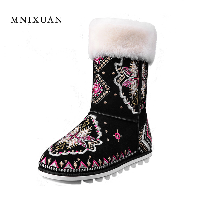 MNIXUAN Snow boots women 2017 winter new genuine leather flat platform ladeis ankle boot embroidered wool fur warm plush shoes 2017 cow suede genuine leather female boots all season winter short plush to keep warm ankle boot solid snow boot bota feminina