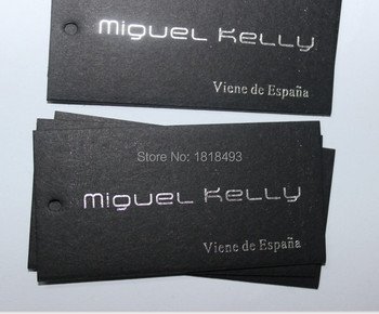 customize Black matte cardboard tags/garment silver stamping hang tags/custom clothing printed paper tags labels 1000 pcs a lot