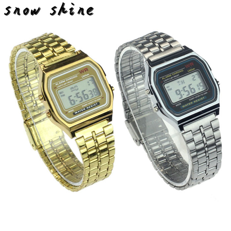 snowshine 30 Womens Men Stainless Steel Digital Alarm Stopwatch Wrist font b Watch b font free