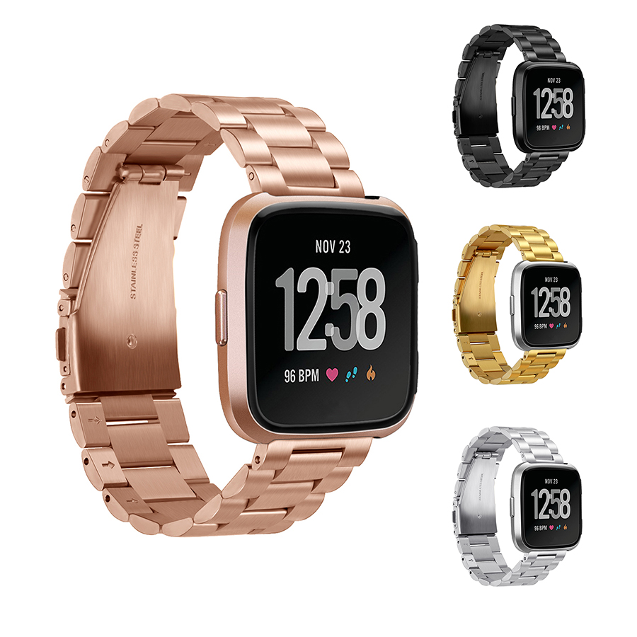 Fitbit Versa Metal Band Black Rose Gold Silver Stainless Steel Strap