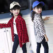 Fashion Girls Blouses for Baby Kids Clothes Casual Long Sleeve Plaid Shirts Girls Outfits Vestidos 6 8 10 12 Years Child Clothes