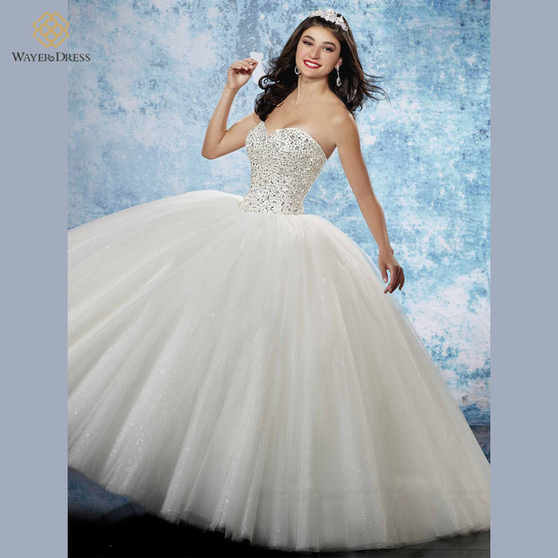 Buy sparkly crystal beaded princess ball for Princess corset wedding dresses