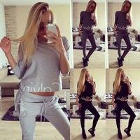 Fashion Women Set Tracksuit Hoodies Long Sleeve Sweatshirt Pants Sets Wear Casual Suit Size 6 14
