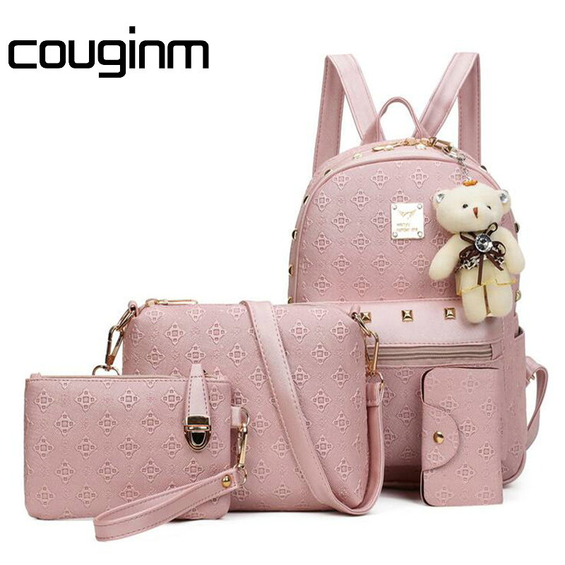COUGINM Fashion Women Composite Bag PU Leather Backpack Women Cute Bear Set Shoulder Bags School Backpacks Teenage Girls Cardbag 4pcs set women fashion backpack pu leather teenage school bag casual clutch crossbody travel bags for girls with purse and bear