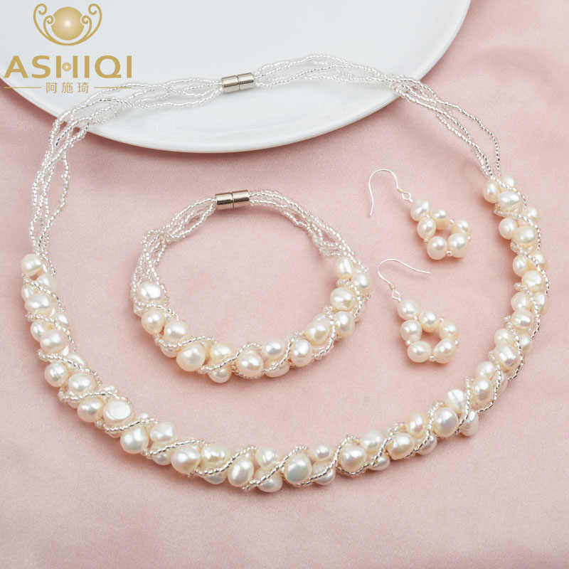 ASHIQI Natural Freshwater Pearl Jewelry Sets & More Hand-knitted Necklace Bracelet 925 Silver Earrings for Women NE+BR+EA