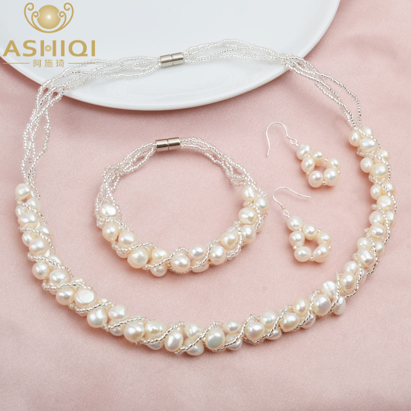 ASHIQI Natural Freshwater Pearl Jewelry Sets More Hand knitted Necklace Bracelet 925 Silver Earrings for Women