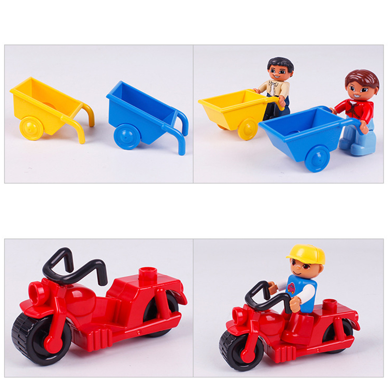 Big SIze Building Blocks Accessory City Bus Truck Aircraft Transport Fire Truck Brick Model Compatible Duploe Toys for children  (3)